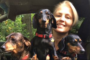 Mary Burton with Buddy, Bella and Tiki
