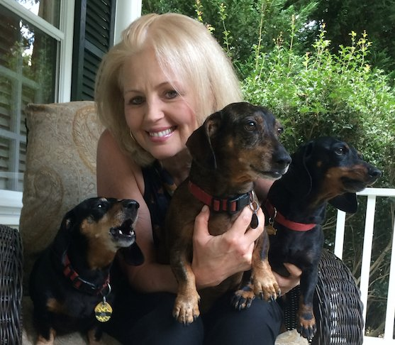 Mary Burton with Buddy, Bela and Tiki