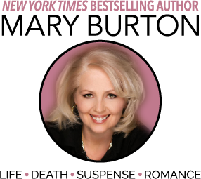 Image of Mary Burton with words NYT bestselling author Life Death Suspense Romance